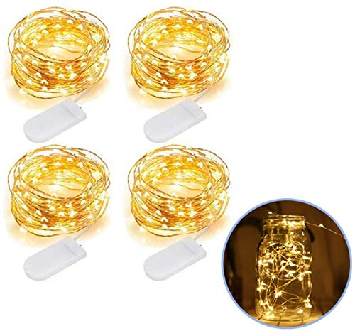 Fairy String Lights, 4 Pack Warm White 7.2FT 20 LEDs Waterproof Starry Fairy Copper String Lights USB Powered for Wedding Party Christmas Decorations