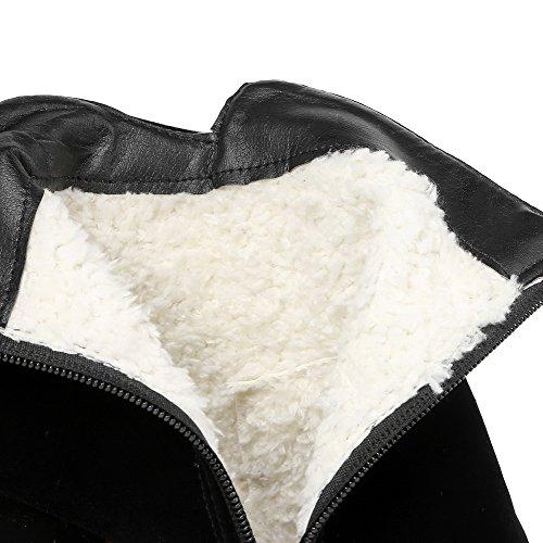 Tacón Puntera Negro con Sólido de ancho Mujeres Botas Imitación Redonda AllhqFashion Diamante Pq6FUw