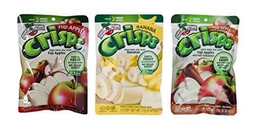 Brothers-ALL-Natural Gluten Free Freeze Dried Fruit Crisps 3 Flavor Variety 6 Bag Bundle, 2 each: Fuji Apple, Apple Cinnamon, Banana.35-.56 Ounces by Brothers-ALL-Natural