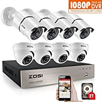 ZOSI 8-Channel FULL 1080p HD Video Security System DVR with 8pcs 2MP 1080p Bullet/Dome Cameras with Weatherproof Metal Housing 100ft(30m) IR night vision 2TB Hard Drive (white) (Certified Refurbished)
