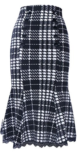 Women's Woolen Vintage Flared A-line Plaid Skirts with for sale  Delivered anywhere in USA