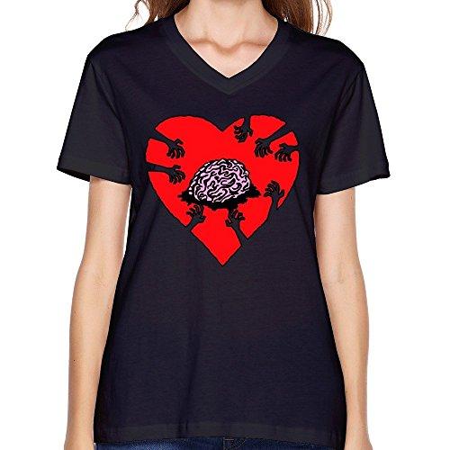 Women's Brain Art Zombie V-neck T-Shirts Black (T Virus Necklace)