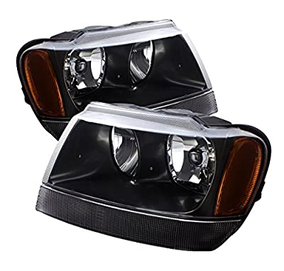 Jeep Grand Cherokee (Laredo) Replacement Headlight Assembly Black Amber Lamps - 1-pair