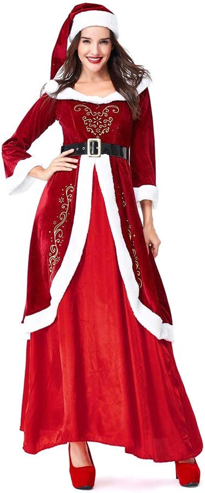 Vestido Navidad Mujer Papa Noel Disfraz Ropa Conjunto Sombrero ...
