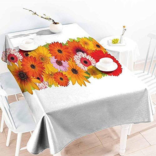 Onefzc Washable Tablecloth,Letter I Uppercase I with Floral Effects Vibrant Inspiring Soft Happines Bunch of Florets,Table Cover for Kitchen Dinning Tabletop Decoratio,W60X102L Multicolor