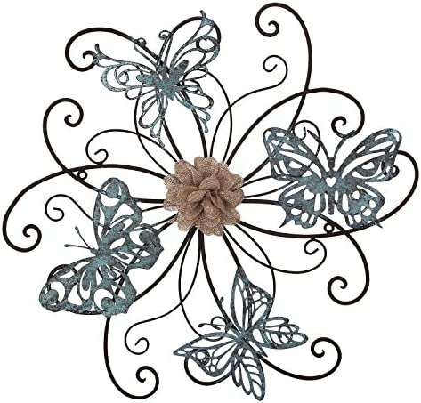 Home s Art Flower and Butterfly Urban Design Metal Wall Decor for Nature Decoration Kitchen Gifts