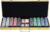 Powerpak Casino Style Poker Chips Set (Without Denomination) with Aluminium Case (500 Pcs Golden Box)