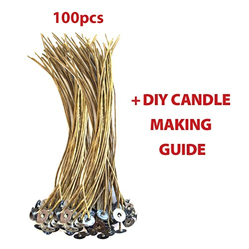 "CozYours 8"" BEESWAX HEMP CANDLE WICKS 100 pcs; ORGANIC & NATURAL; Candle Wicks For Candle Making. Candle DIY HACKS E-BOOK INCLUDED"