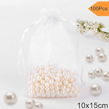 100Pcs Joyería Bolsas Organza, Fushing 10x15cm Bolsas con Cordón para Caramelo de Recuerdo Favores de la Boda Bolsas de Regalos de Navidad (Blanco)