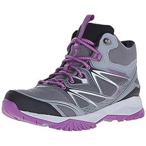 Merrell Women's Capra Bolt Mid Waterproof Hiking Boot, Grey/Purple, 9.5 M US
