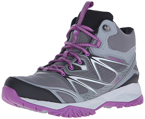 Merrell Women's Capra Bolt Mid Waterproof Hiking Boot, Grey/Purple, 8 M US