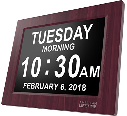 [Newest Version] Day Clock - Extra Large Impaired Vision Digital Clock with Battery Backup & 5 Alarm Options (Premium Mahogany (Illuminated Display Case)