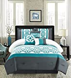 Golden Linens Turquoise White7 Pcs Embroidery Comforter Set (Queen)