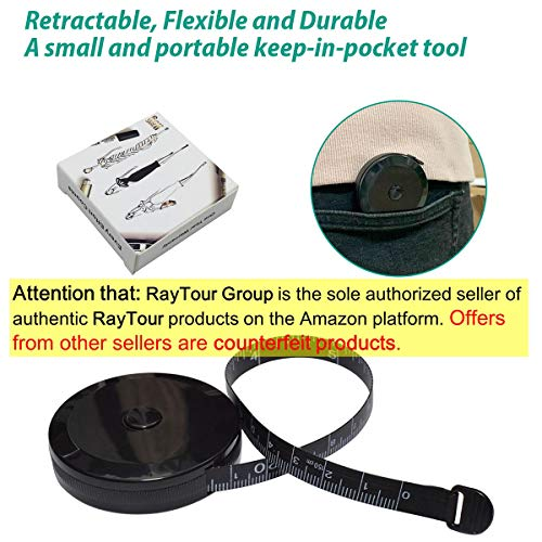 Tape Measure for Body Measuring Tape for Body Cloth Measuring Tape for Sewing Tailor Fabric Measurements Tape (Retractable Dual Sided Black)