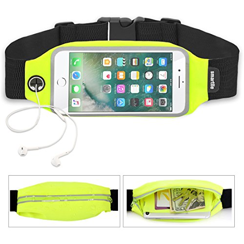 Universal Sports Running Fitness Belt Fanny Waist Pack Adjustable, Big Hole Fits Lightning of Earpods, Home Button Can Work Access View Window for iPhone 7/6s Samsung Galaxy S8 S9- Green