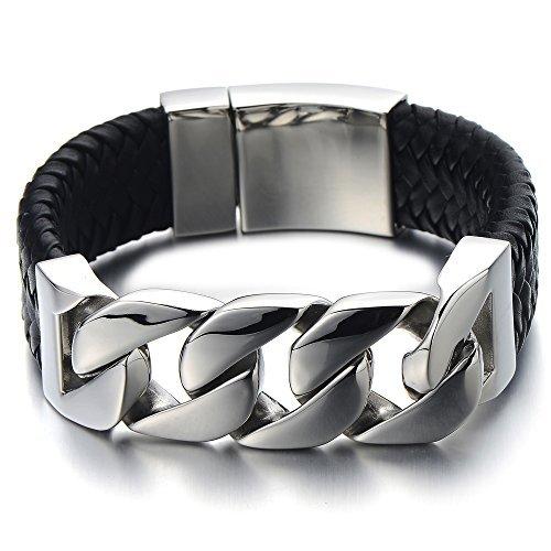 Einzigartiges Geflochtenes Leder-Armband Panzerkette Armband für Herren aus Edelstahl und Echtem Leder