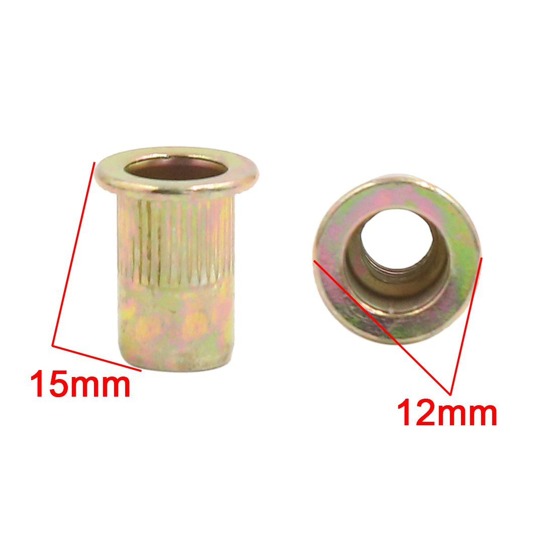 uxcell 200 Pcs 1//4-20 Bronze Tone Zinc Plated Stainless Steel Thread Rivet Nut Insert Nutserts