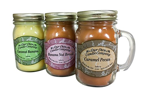 Our Own Candle Company Our Own Caramel Pecan, Coconut Banana-Grab Nuts Variety Scented Mason Jar Candles, 13 oz (3 ()
