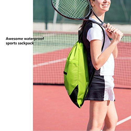 Drawstring Backpack Sports Gym String Bag Cinch Sack Gymsack Sackpack Waterproof (Green) by Amatory (Image #2)