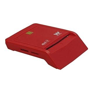 Woxter Lector Dni Combo - Lector DNI electrónico, compatible con las tarjetas Smart Cards o tarjetas inteligentes, con 3 ranuras para tarjetas , color rojo