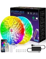 Ledstrip, 20 m licht, muzieksynchronisatie, kleurverandering, RGB-ledstrip, afstandsbediening met 40 toetsen, gevoelige ingebouwde microfoon, app-gestuurde ledlampen, 5050 RGB-ledstrips (20 m)