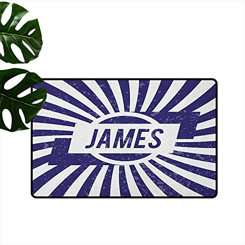 RenteriaDecor James,Printed Floor Mats Classical Nautical Colors and Grunge Effect Common First Name Surname Design 16