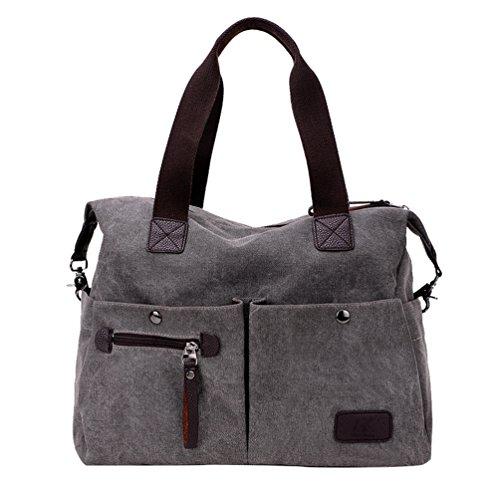Multi tasca A Con borse Donna Bag Linnuo Grandi borsetta Grigio Mano Da Messenger Viaggio Spalla Tela Borse q1Pxx7wt