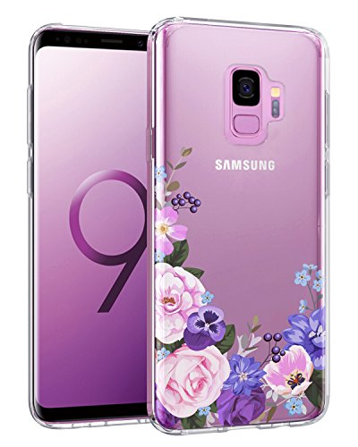 Casetego Compatible Galaxy S9 Case,Clear Soft Flexible TPU Case Rubber Silicone Skin with Flowers Floral IMD Printed Back Cover for Samsung Galaxy S9-Purple Pink Flower