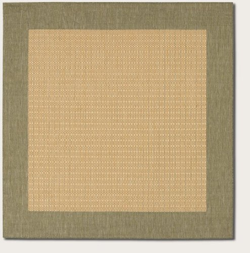 Couristan 1005/5005 Recife Checkered Field Natural/Green Rug, 7-Feet 6-Inch Square
