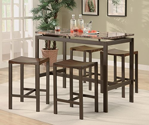 Coaster Atlus 150096 5PC Counter Height Table Set with 4 Backless Stools Marble Look Top and Metal Construction in Brown