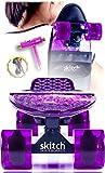 Pink Purple Penny Board Skateboard For Girls - Skitch Complete 22 Inch Mini Cruiser Skateboards For Teens Pros Children Women with Skateboard Backpack Skate Tool