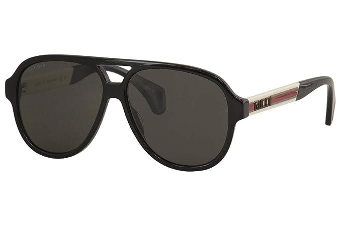 Amazon.com: Gafas de sol Gucci GG 0463 S- 002 negro/gris ...
