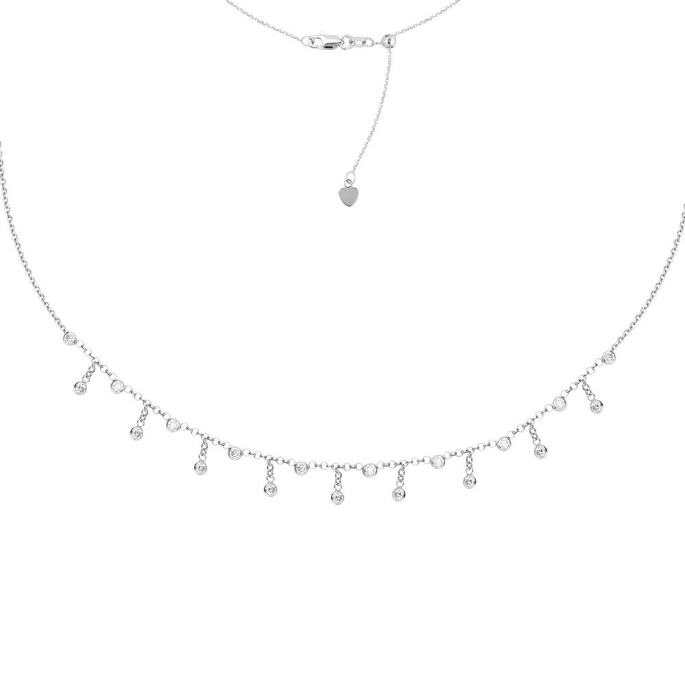 Sterling Silver Rhodium Plated 3mm Cubic Zirconia Fashion Choker Necklace - 16 Inch
