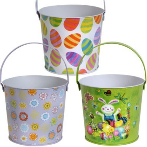Metal Easter Buckets with Handles -