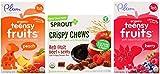 Organic Toddler Snack Variety Bundle: (1) Sprout Crispy Chews Red Berry & Beet 3.15oz, (1) Plum Organics Peach Teensy Fruits 1.75oz, and (1) Plum Organics Berry Teensy Fruits 1.75oz (3 Pack Total)