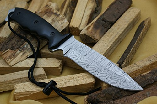 Knife King Model 2 Custom Damascus Hunting Knife Black Micarta Handle