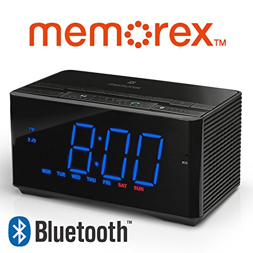 Memorex Bluetooth Clock Radio Auxiliary USB Charging Port MC5550 InteliSet NFC + Hands Free Microphone Bluetooth (Refurbished)