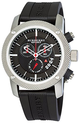 - Burberry Sport Swiss Chronograph Watch Unisex Men Women Black Rubber Silicone Black Date Dial BU7700