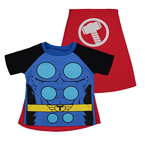 Marvel Avengers Thor Toddler Boys' Costume Shirt with Cape, Blue (3T) -
