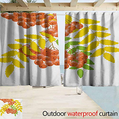 AndyTours Rod Pocket Curtains,Rowan Fresh and Dried Leafage and Juicy Rowan Fruits Ashberries Rural Nature Theme,Rod Pocket Energy Efficient Thermal Insulated,W55x72L Inches,Coral Yellow Green - Juicy Scarf