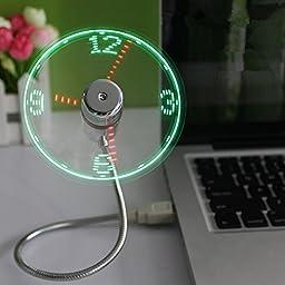 Saytay Flexible Gooseneck Mini USB LED Flashing Real Time Display Clock Fan