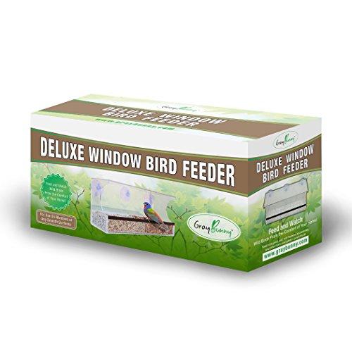 [해외]GrayBunny GB-6851 디럭스 클리어 윈도우 버드 공급기, 배수구가있는 대형 야생 조류 피더, 탈착식 트레이, 초강력 흡입 컵/GrayBunny GB-6851 Deluxe Clear Window Bird Feeder, Large Wild Bird Feeder With Drain Holes, Removable Tray, Super S...