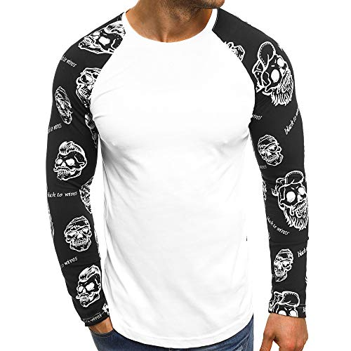 ◕‿◕ Toponly Men Casual Skull Printed Letters Patchwork Long Sleeve Tops Blouse -