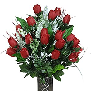 Stay-In-The-Vase Artificial Cemetery Flowers for Outdoor-Grave-Decorations - Red-Rose Bud Bouquet Lush Fake Flowers, Non-Bleed Colors, with Design 106