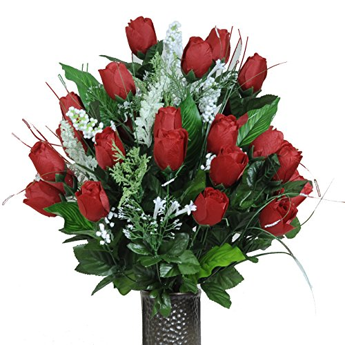 (Stay-In-The-Vase Artificial Cemetery Flowers for Outdoor-Grave-Decorations - Red-Rose Bud Bouquet Lush Fake Flowers, Non-Bleed Colors, with Design)