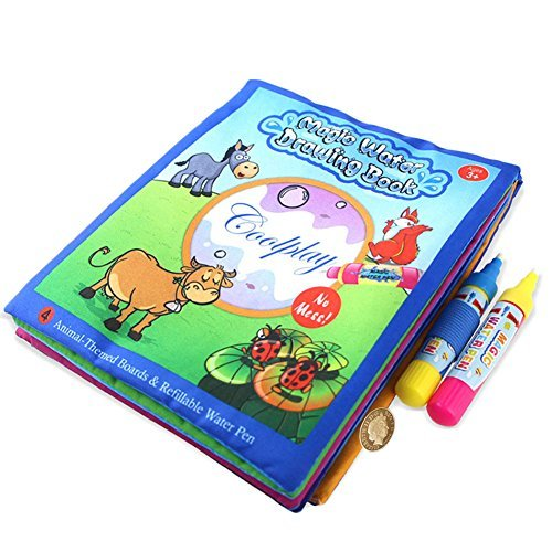 BBLIKE Water Coloring Doodle Cloth Book with 2 Magic Water Pens
