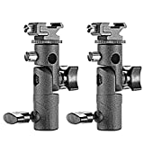 Neewer Professional Universal E Type Camera Flash Speedlite Mount Swivel Light Stand Bracket with Umbrella Holder for Canon Nikon Pentax Olympus and Other Flashes, Studio Light, LED Light(2 Pack)