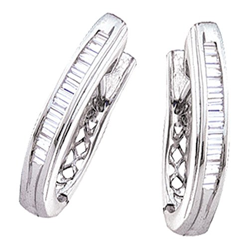 Roy Rose Jewelry 14K White Gold Womens Baguette Diamond Hoop Earrings 1/2 Carat - Baguette Gold Hoop 14k Diamond