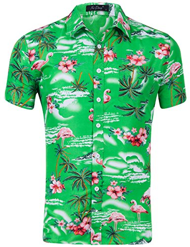 (XI PENG Men's Tropical Short Sleeve Floral Print Beach Aloha Hawaiian Shirt (Pink Flamingo Hibiscus Green,)