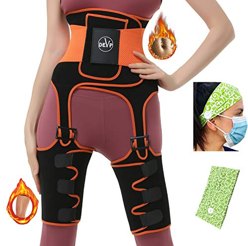 DEVP 3-in-1 Waist Thigh Trimmer and Butt Lifter, Best Neoprene Thigh and Waist Trainer, Thigh Eraser, Body Shaper Thigh Trimmer for Women Weight Loss, Adjustable Slimming Support Belt Hip Enhancer